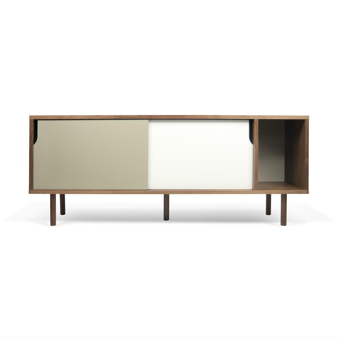 Sideboard 165 Dann | Walnut/White & Grey