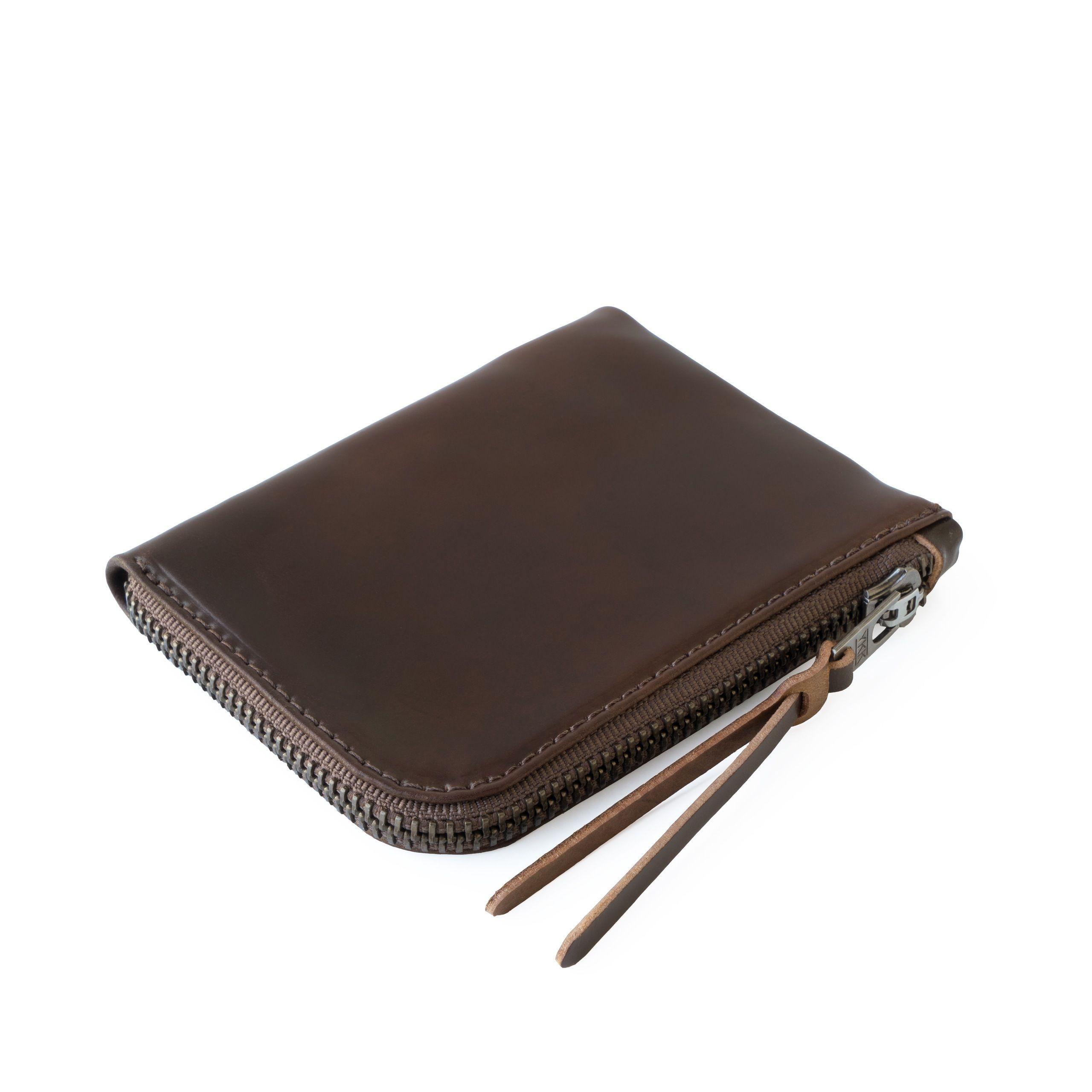 Cordovan Zip Slim Wallet | Dark Cognac Horween Shell Cordovan Leather