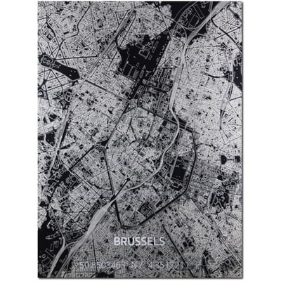 Metal Wall Decoration | City Map | Brussels-100 x 80 cm