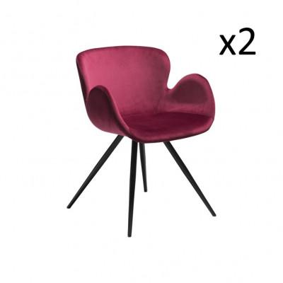 2er-Set Stühle Gaia Samt | Rubinrot