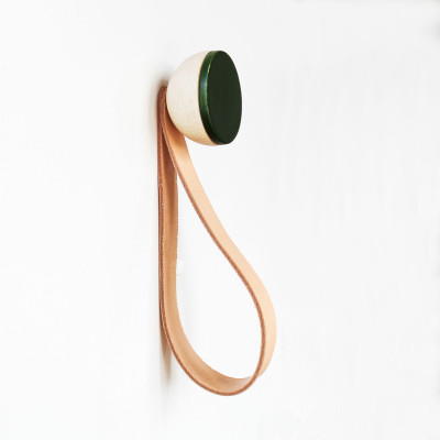 Buchenholz & Keramik Haken / Knopf mit Schlaufe Ø 5cm   Dunkelgrün