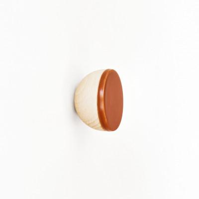 Buchenholz & Keramik Haken / Knopf Ø 5cm   Dunkles Terrakotta