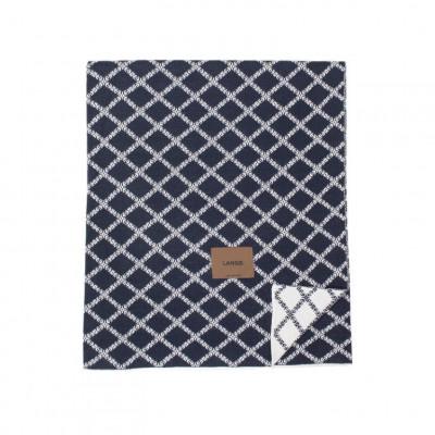 Merinowool Blanket | Dark Blue - White