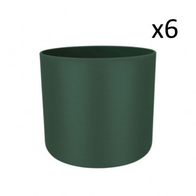 Set of 6 Recycled Plant Pots | Dark Green