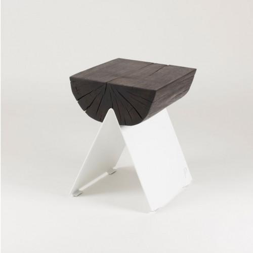 1/2 Stool | Black Oak - White