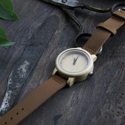 Wooden Watch | Dark Brown Leather