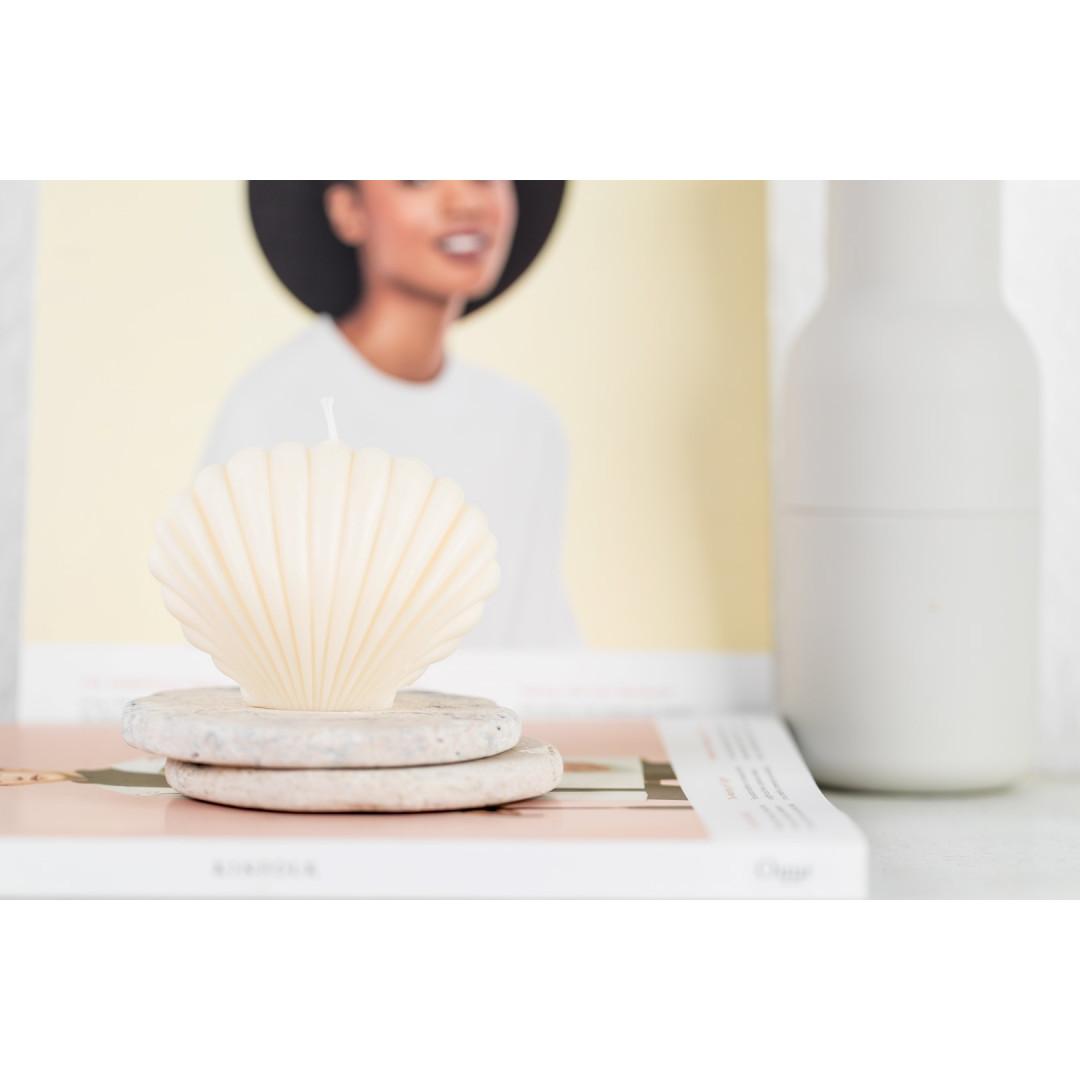 Sojawachs-Kerze Shell   Elfenbein