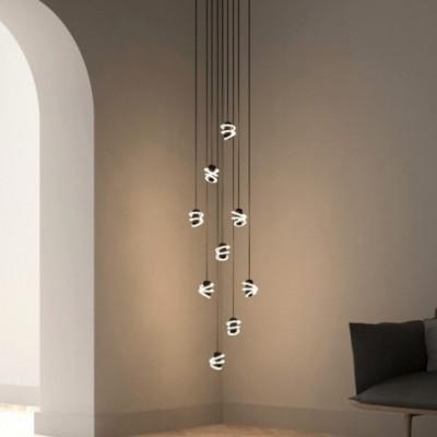 Kronleuchter Curli Cascade mit Curli B LED-Glühbirnen | Schwarz