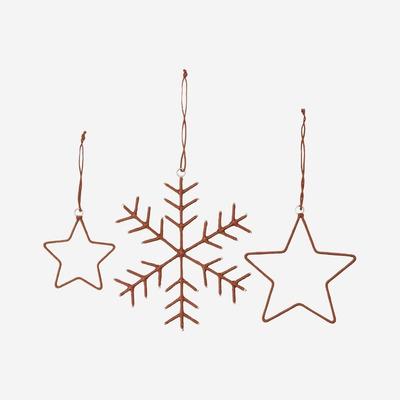 Schneeflocken & Sterne Ornamente | Braun