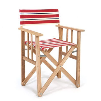 Director Chair Striped | Red / Natural / Blue