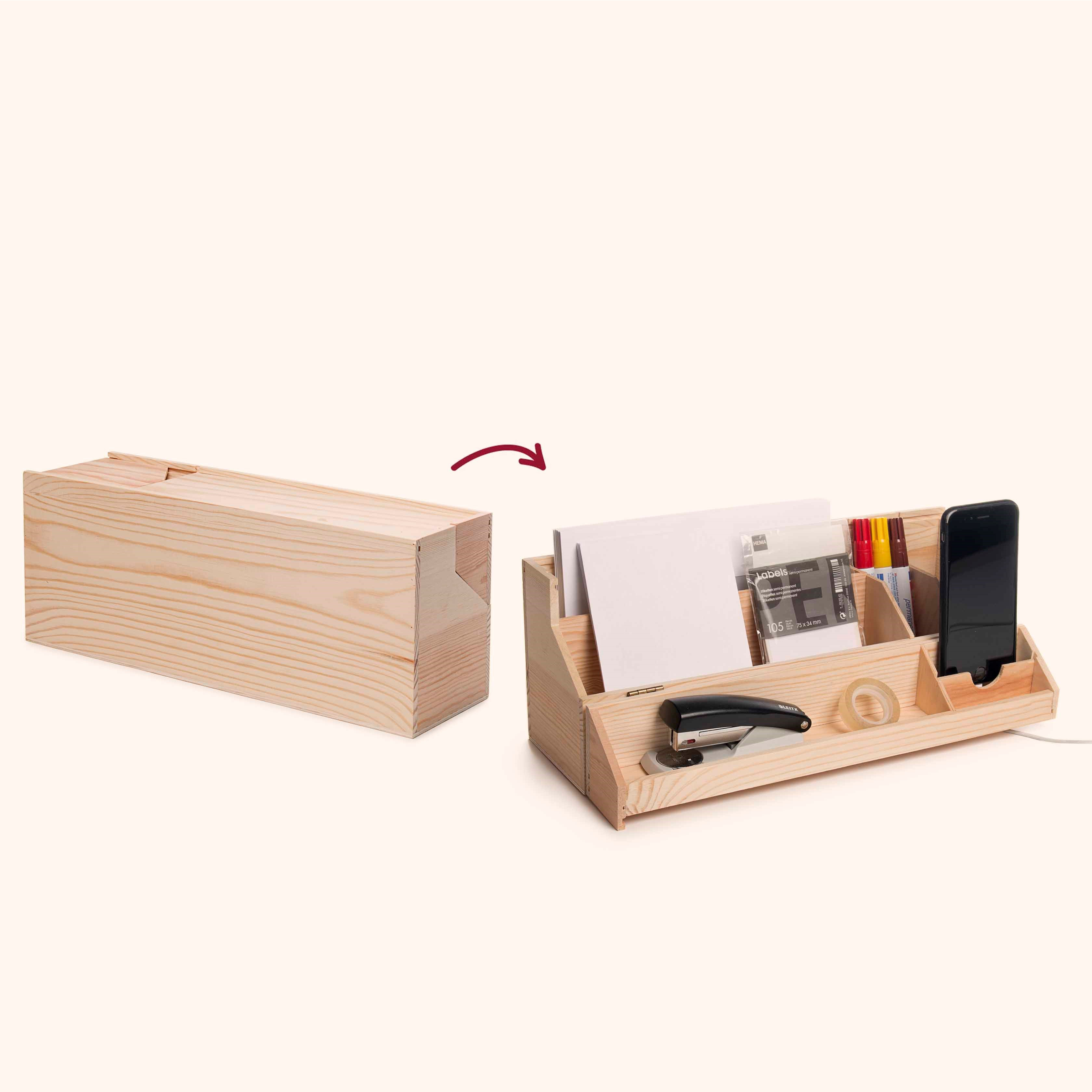2-in-1-Weinlagerungsbox & Schreibtisch-Organisator Desk Topper