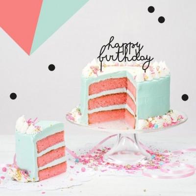 Cake Topper Happy Birthday N°2 | Black
