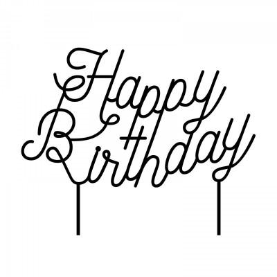 Cake Topper Happy Birthday N°1 | Black