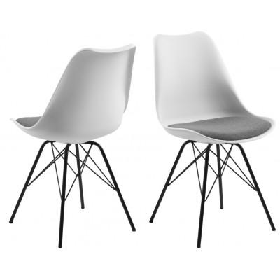 Set de 2 Chaises Iris | Blanc & Pieds Noirs
