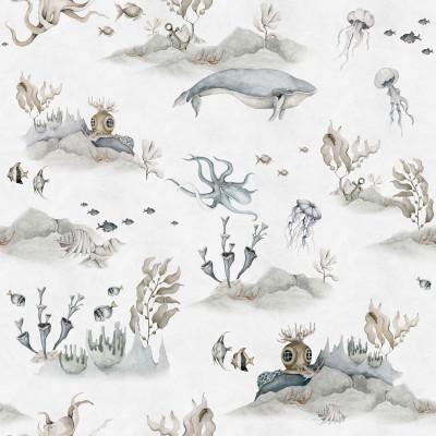 Tapete   Underwater World Weiß