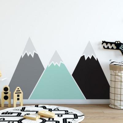 Wandaufkleber hinter dem Bett   Berge Pastell