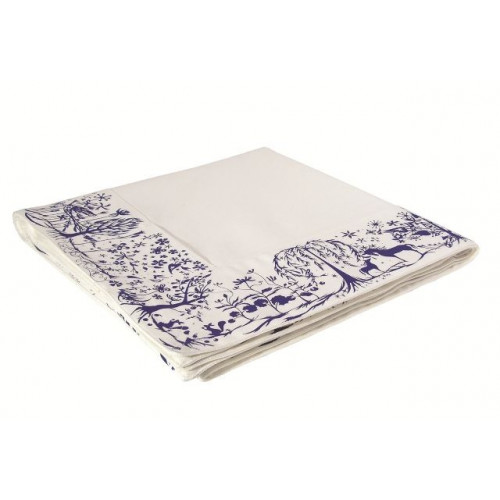 "Table Cloth  Border""Reindeer World"" Blue"