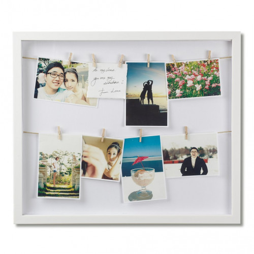 Photoframe with 12 Clips / Clothesline | White
