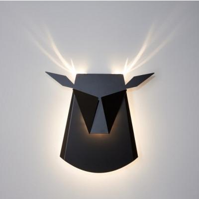 Wall Light Deer Head   Aluminium   Black