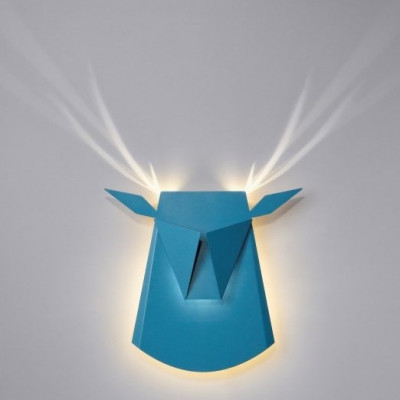 Wall Light Deer Head   Aluminium   Blue