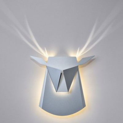 Wall Light Deer Head   Aluminium   Silver