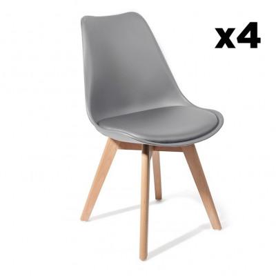 4er-Set   Stuhl Kiki Holz   Grau