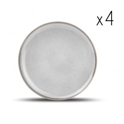 4er-Set Teller Freckles 26 cm | Grau