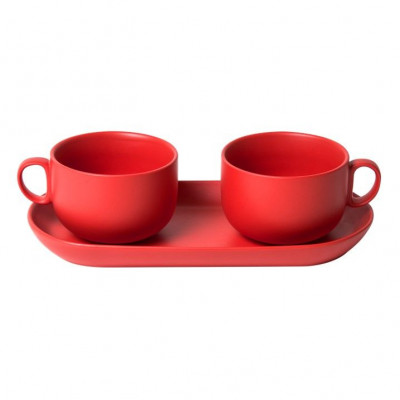 Bis Breakfast Cups with Tray   Red