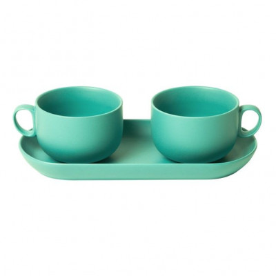 Bis Breakfast Cups with Tray   Turquoise