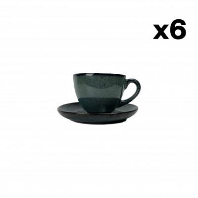 Tasse mit Untertasse Hamuza Azul 18 cl 6er-Set   Blau