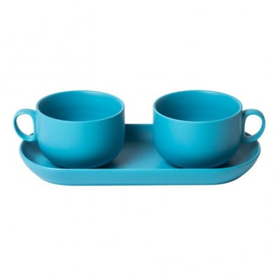 Bis Breakfast Cups with Tray   Light Blue