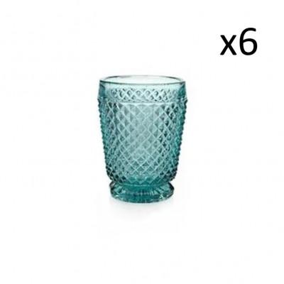 Glas-Diamanten 6er-Set   Blau