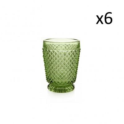 Glas-Diamanten 6er-Set   Grün