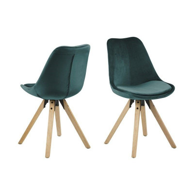 Stühle Nida | 2er-Set | Flaschengrün & Holz