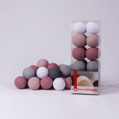 Cotton Ball Light String | Dirty Rose