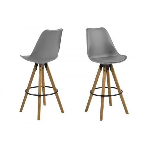 Set of 2 Bar Stools Nida | Grey