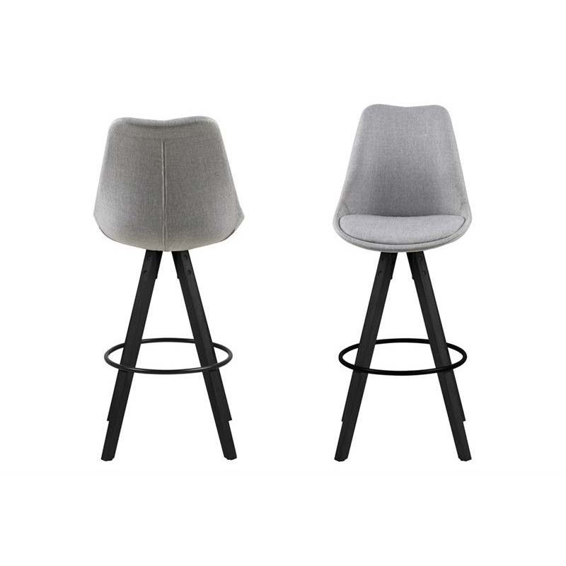 Set of 2 Bar Stools Nida Fabric | Grey