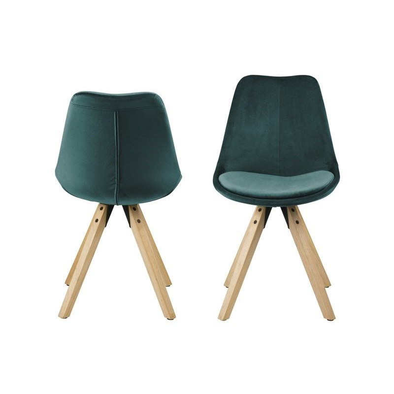 Set of 2 Chairs Nida   Bottle Green & Wood