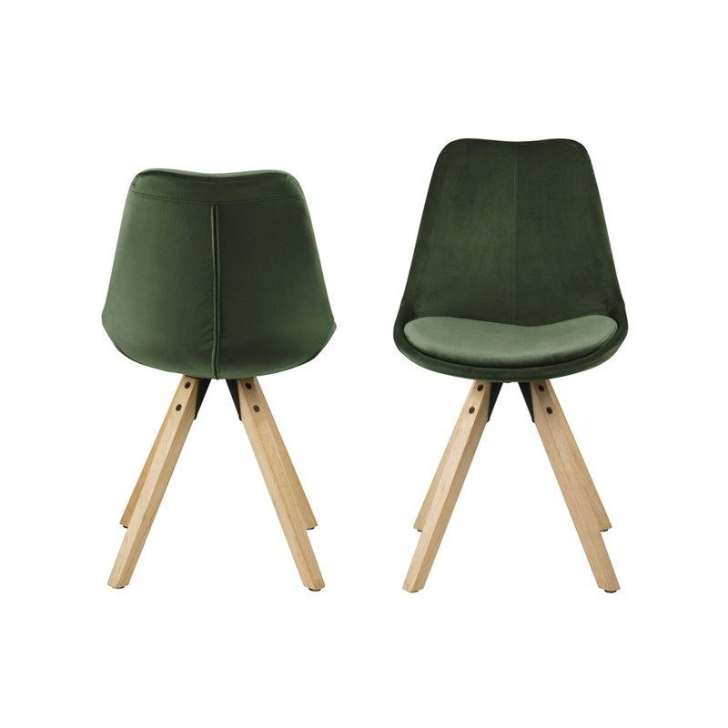 Set of 2 Chairs Nida | Forest Green & Wood