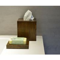 Tissue Box Mezza Cube   Dark Wood
