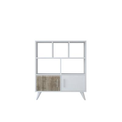 Bücherregal Ducky 90x22x105 cm | Weiß-Walnuss