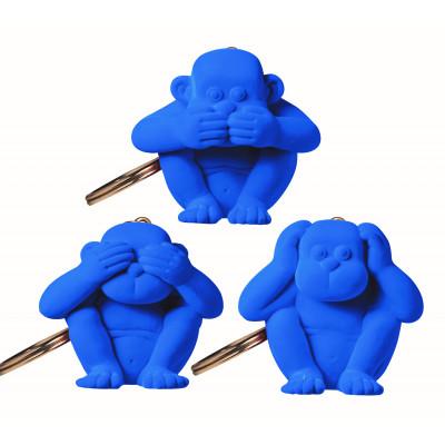 Schlüsselanhänger-Affe 3er-Set   Blau