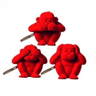 Schlüsselanhänger-Affe 3er-Set | Rot