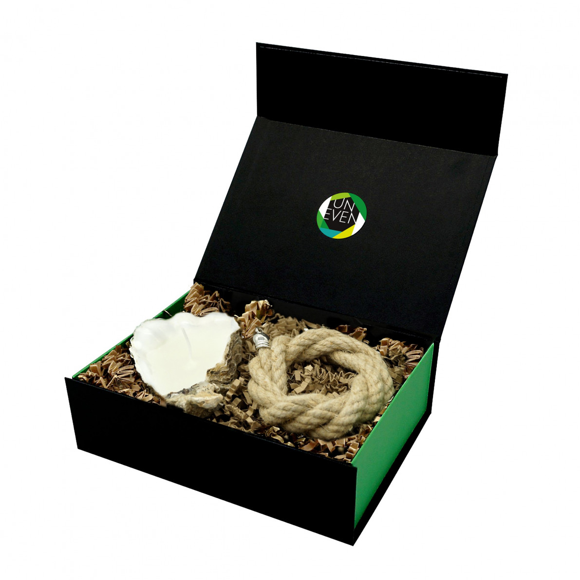 Austernkerze + Duftperle + Seil Geschenkkarton Medium | Natürlich