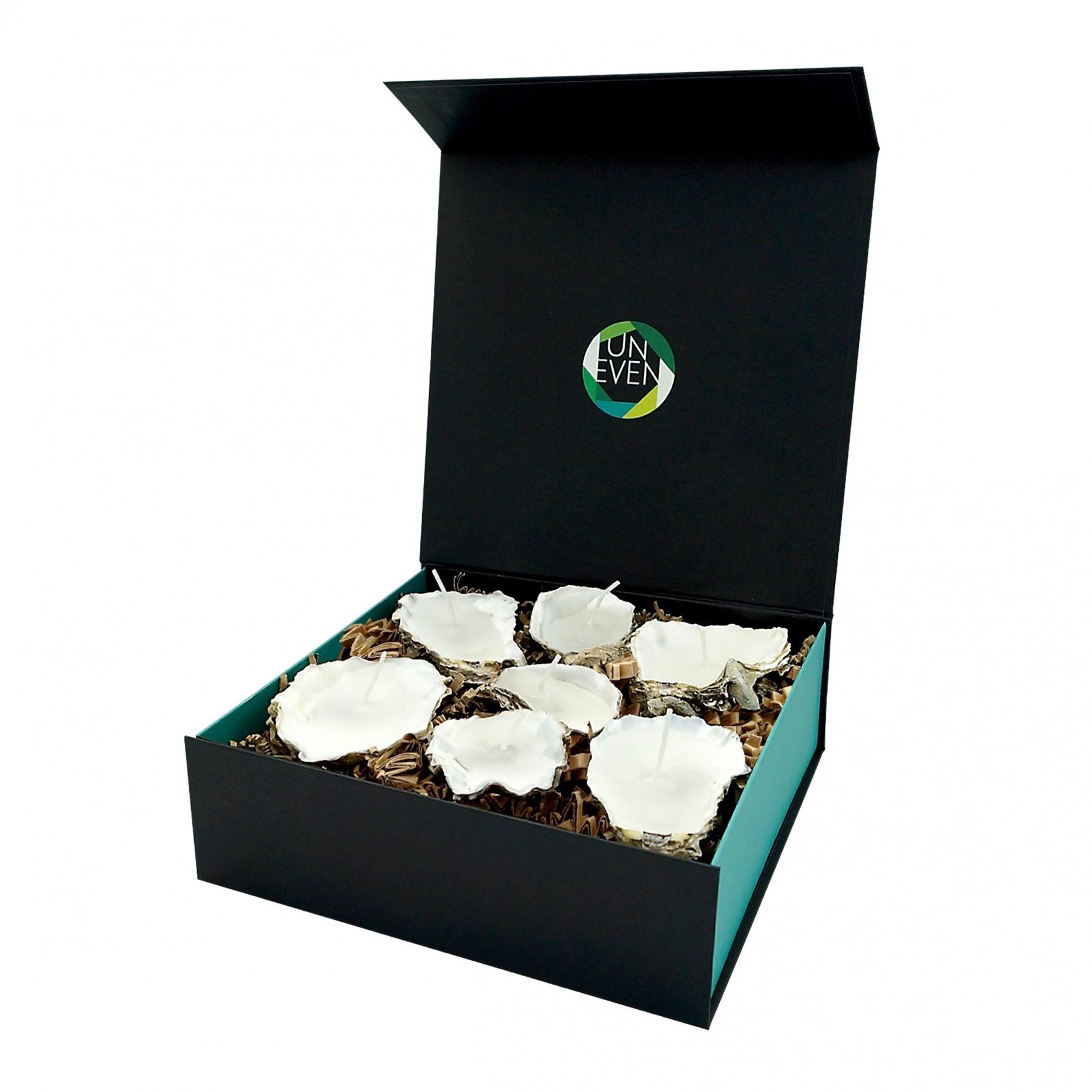Austernkerze 5/7 St. + Duftperlen Geschenkbox Groß   Natürlich