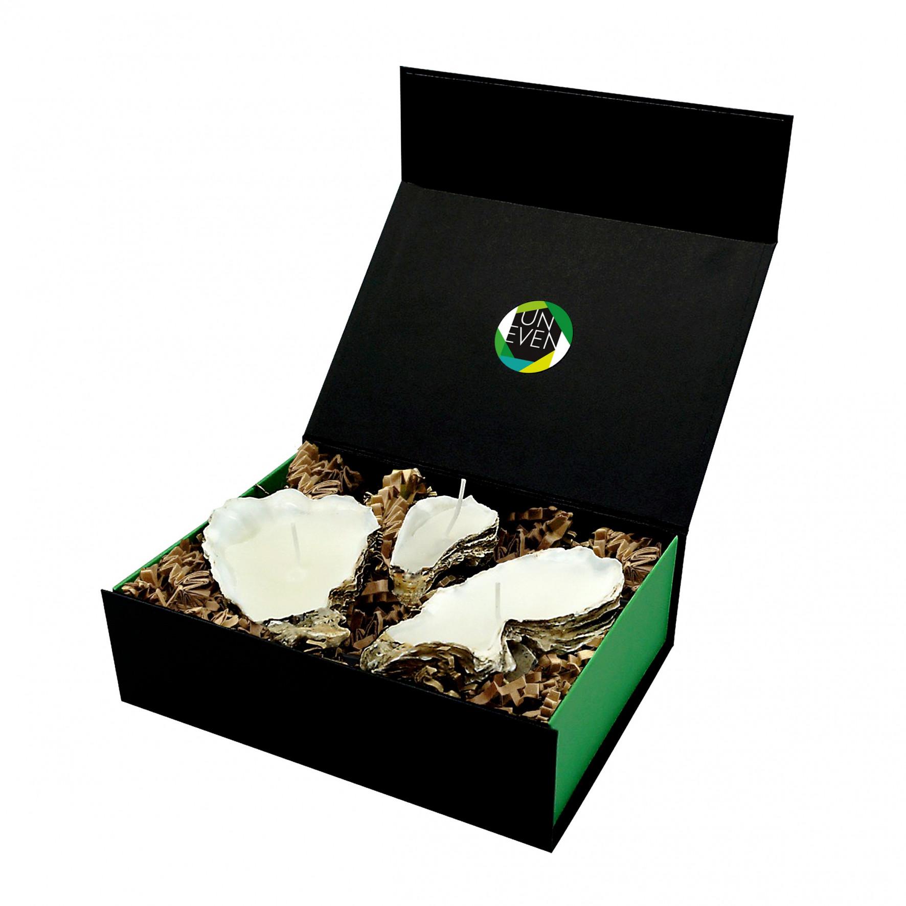 Austernkerze 3 Stück + Duftperlen Geschenkbox Medium | Natürlich