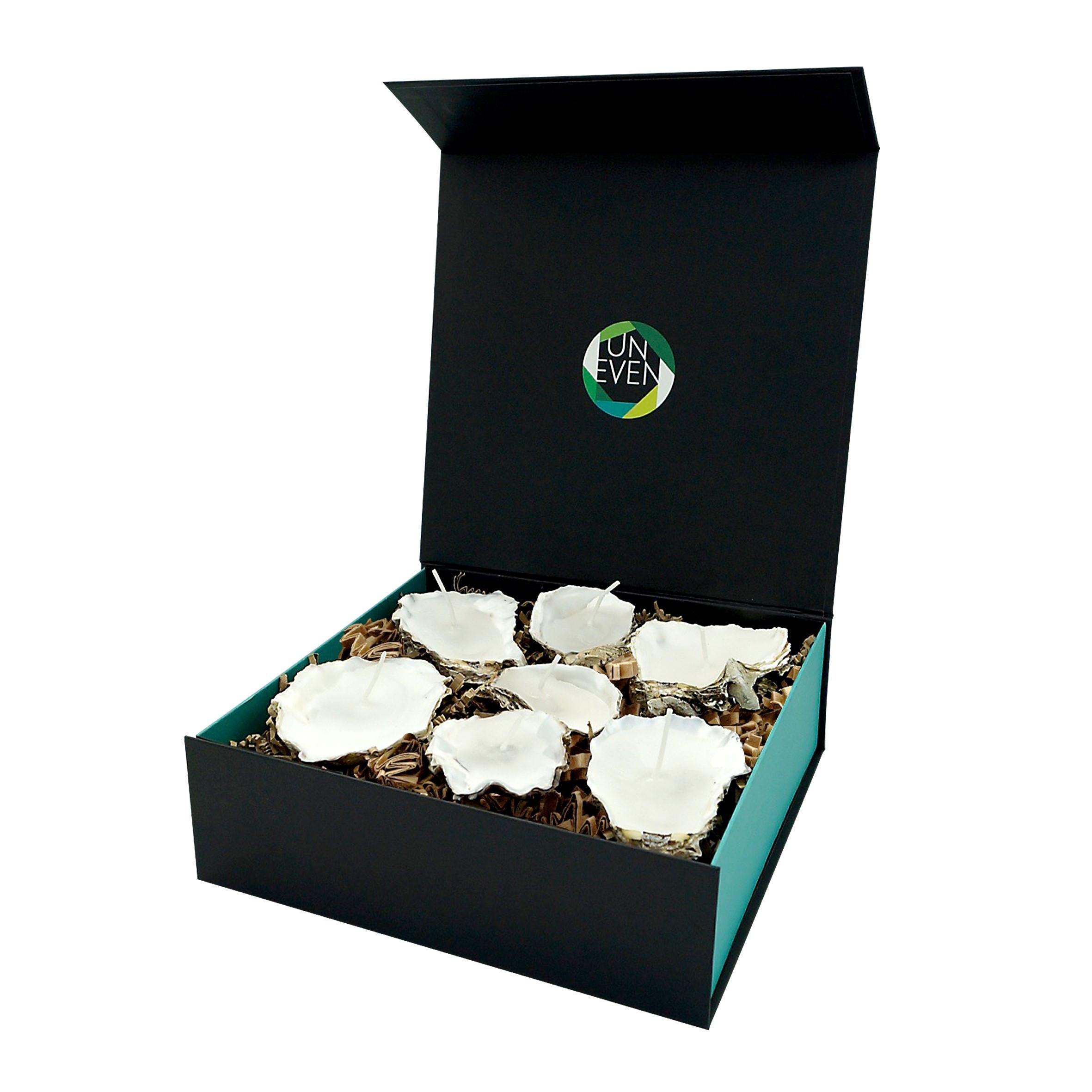 Austernkerze 5/7 St. + Duftperlen Geschenkbox Groß | Natürlich