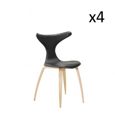 Stuhl Dolphin | Schwarzes Leder & Eichenfurnier Beine | 4er Set