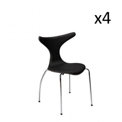 Stuhl Dolphin | Schwarzes Leder & Chrombeine | 4er-Set