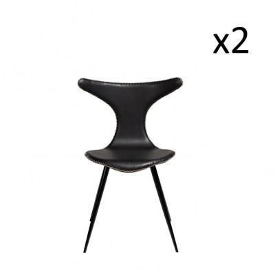 Stuhl Dolphin | Vintage Schwarzes PU-Leder & schwarze Beine | 2er-Set
